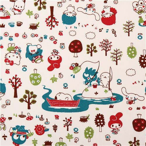 cream Sanrio characters in the forest oxford fabric from Japan