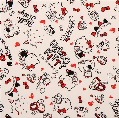 off-white Hello Kitty oxford fabric party heart elephant by Sanrio from Japan