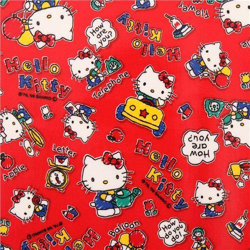 red Hello Kitty apple balloon Sanrio laminate fabric from Japan