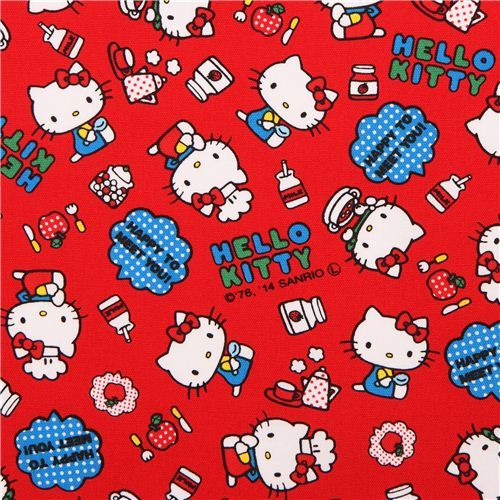 red Hello Kitty oxford fabric chef soup apple by Sanrio from Japan