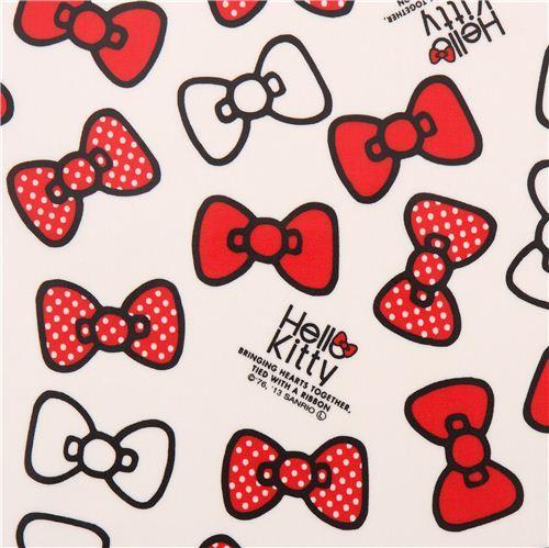white Hello Kitty ribbon bow Sanrio laminate fabric from Japan