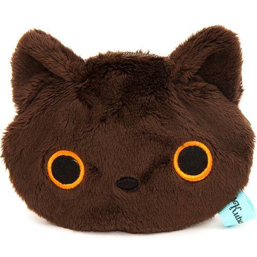 brown Kutusita Nyanko cat plush pouch wallet
