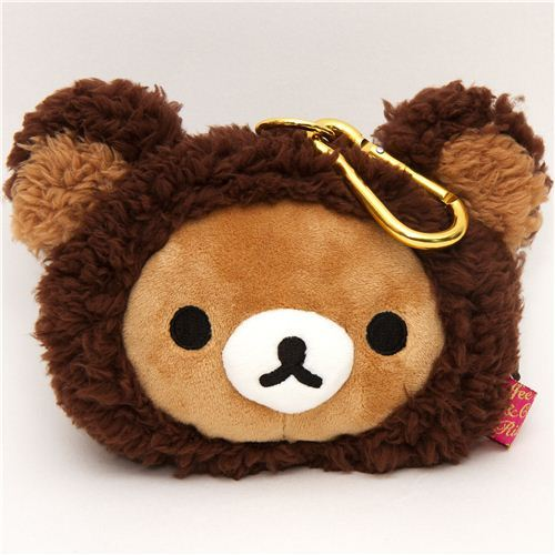 brown Rilakkuma bear plush pouch wallet