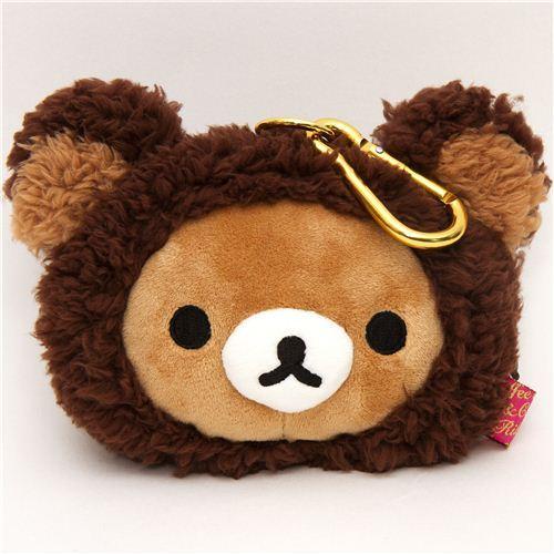 brown Rilakkuma bear plush pouch wallet