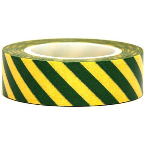 yellow Washi Masking Tape deco tape green stripes