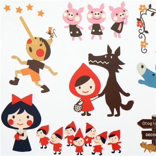 cute fairy tale wall sticker Little Red Riding Hood