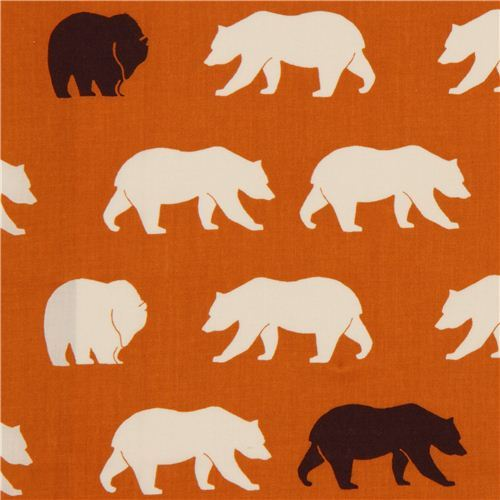 orange bear organic fabric by birch from the USA