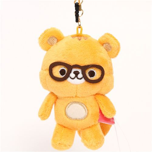 orange Chocopa squirrel with glasses plush charm San-X