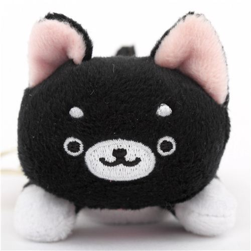 cute small black Iiwaken Kurosuke dog plush toy with collar