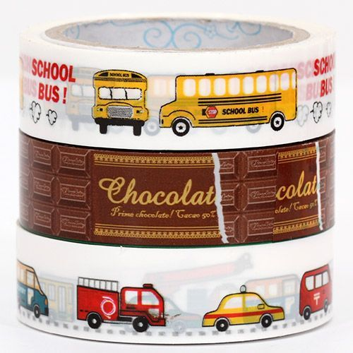Sticky Tape set with cars, school bus and chocolate