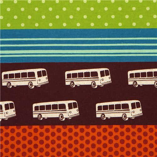 echino canvas fabric bus brown & polka dots from Japan