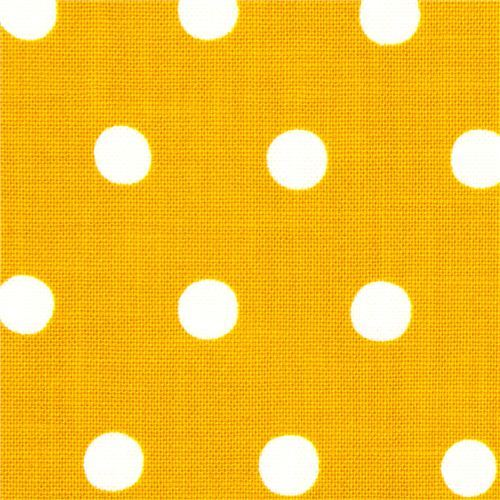 mustard echino canvas fabric with white polka dots