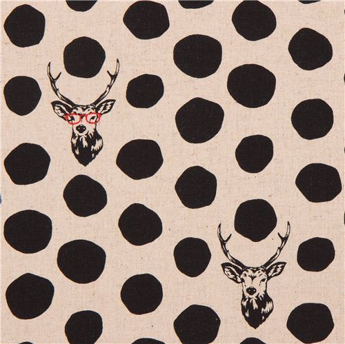 natural-colored echino samber canvas fabric stag with polka dots from Japan