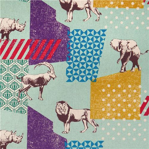 turquoise echino zon canvas fabric pattern safari animals from Japan