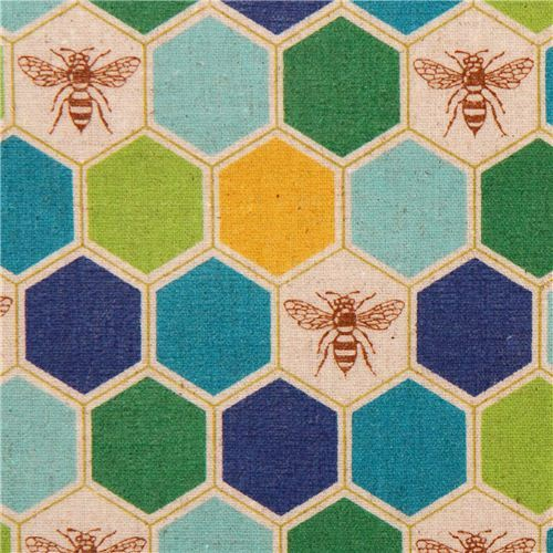 bee echino Canvas laminate fabric blue green honeycomb