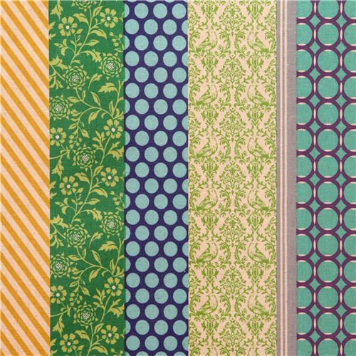 pipi echino Canvas laminate fabric blue green flower dot