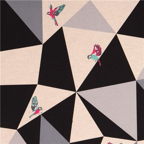 wide mosaic echino poplin fabric black bird triangle