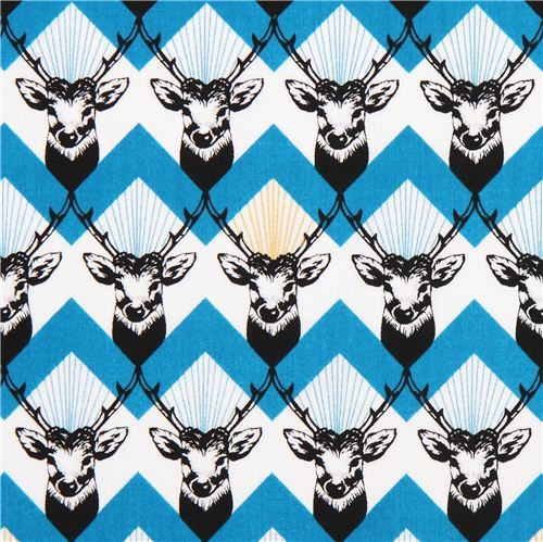 stag Chevron blue echino Decoro cotton sateen fabric