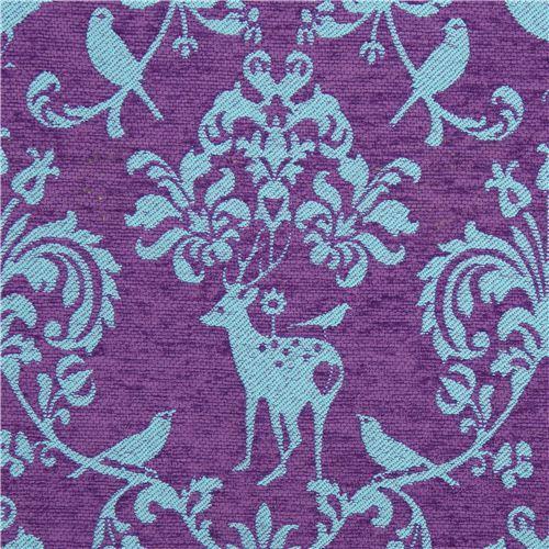 purple Jacquard echino fabric woodland stag deer bird
