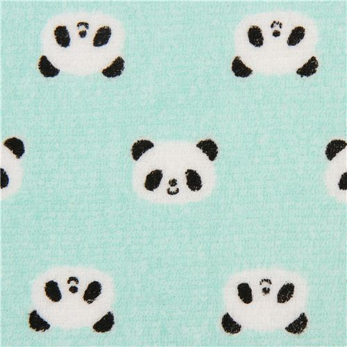 turquoise panda bear toweling fabric Cosmo Japan