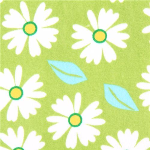 green flower minky fabric fleece plush Robert Kaufman Izzy