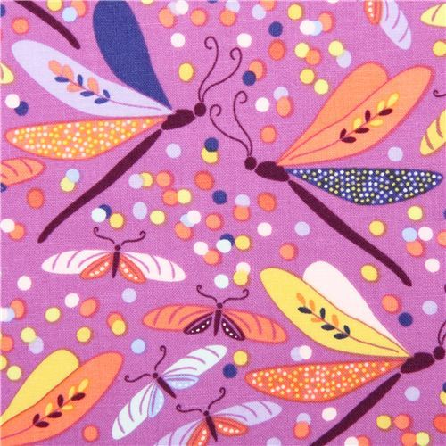 purple butterfly animal fabric Helen's Garden Michael Miller