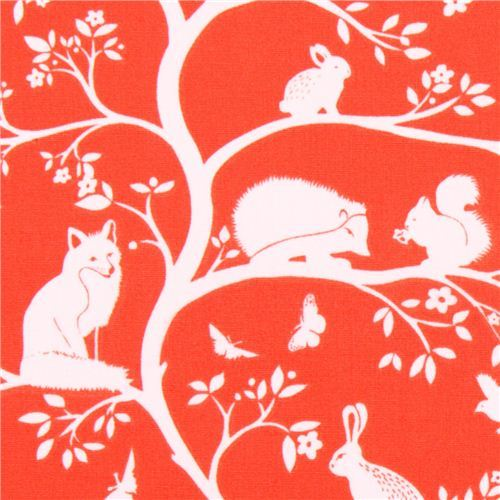 red monaluna forest animal organic fabric vine USA