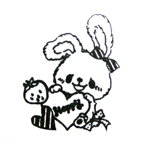 cute bunny with heart stamp handmade