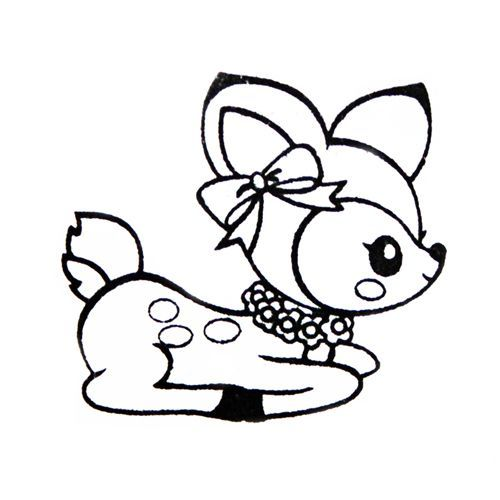 Cute Deer Stamp With Ribbon Kawaii Japan