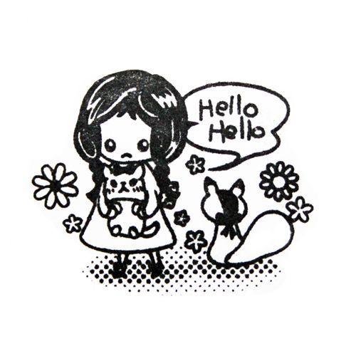cute girl stamp with squirrel kawaii Japan