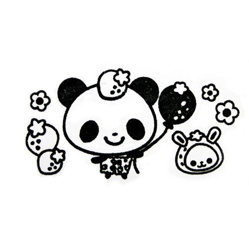 cute panda stamp with strawberries kawaii Japan