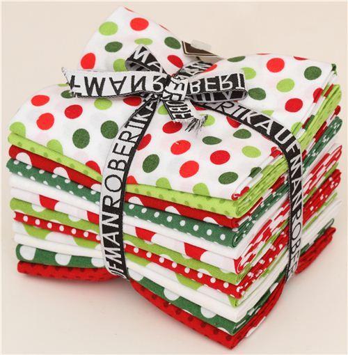 Fat Quarter fabric bundle dots red green by Robert Kaufman