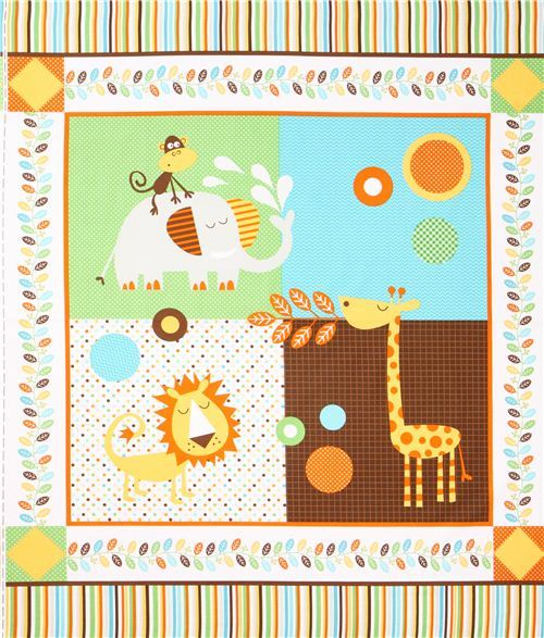 white Safari animal panel fabric by Northcott Studio