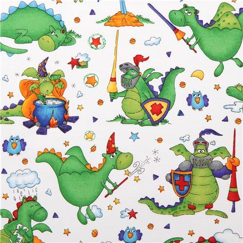 white dragon fabric Magical Dragons by Northcott Studio