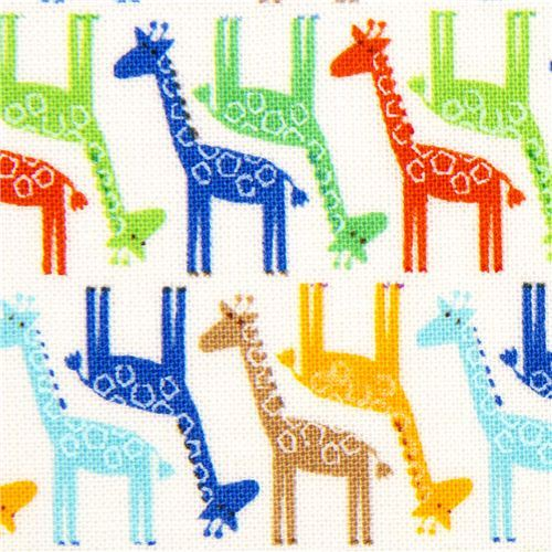 white designer fabric with small colourful giraffes