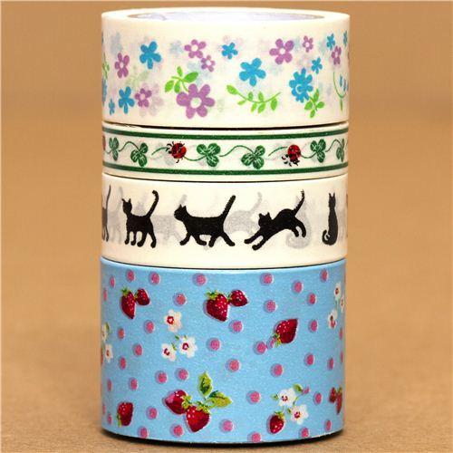 Paper Tape set flower cat strawberry cloverleaf