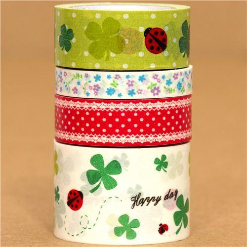 Paper Tape set flower ladybird cloverleaf dots