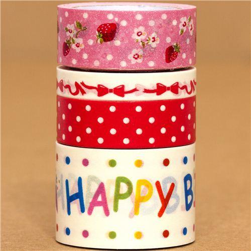 Paper Tape set strawberry dots ribbon birthday
