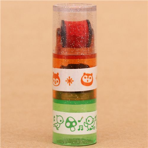 bear singing bird mushroom roller stamp pen rolling stamp
