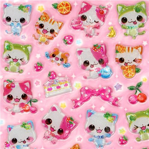 Japanese sticker cute glitter cats Q-Lia kawaii