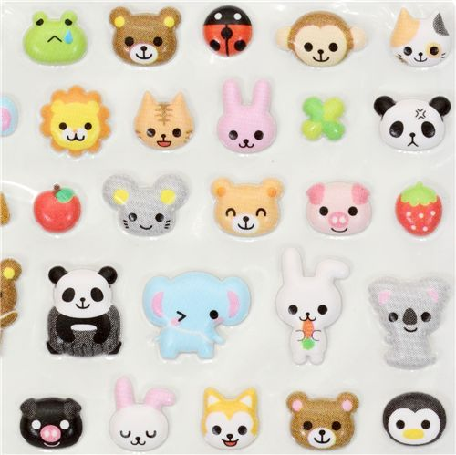 kawaii animals sponge sticker Q-Lia from Japan