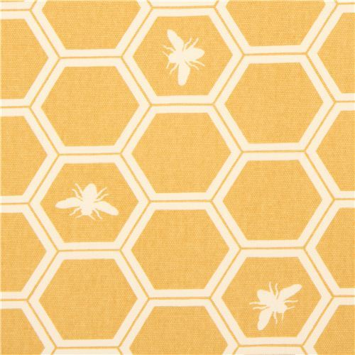 yellow bee honeycomb canvas organic fabric birch USA