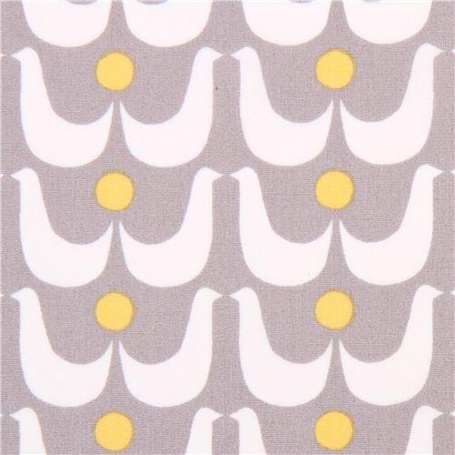 grey monaluna geo birds organic fabric birdies