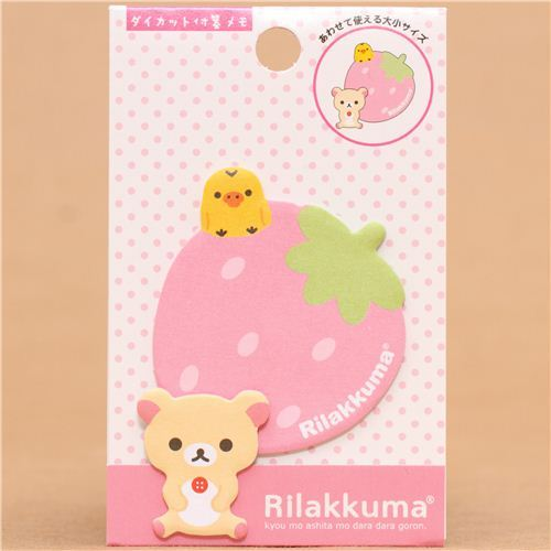 Rilakkuma white bear strawberry Post-it bookmark sticker