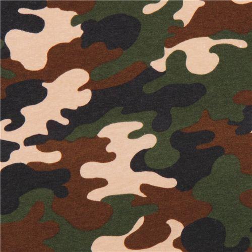 Robert Kaufman Camouflage green Laguna Jersey knit fabric