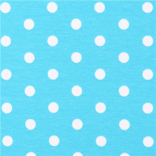 aqua Robert Kaufman dot Laguna Jersey knit fabric