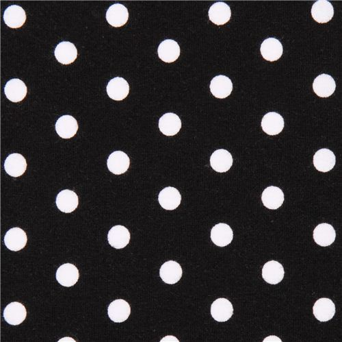 black Robert Kaufman dot Laguna Jersey knit fabric