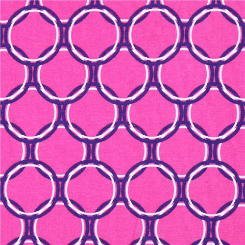 hot pink Robert Kaufman circle Laguna Jersey knit fabric