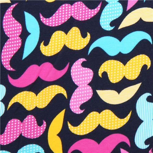 navy blue Robert Kaufman moustache Jersey knit fabric