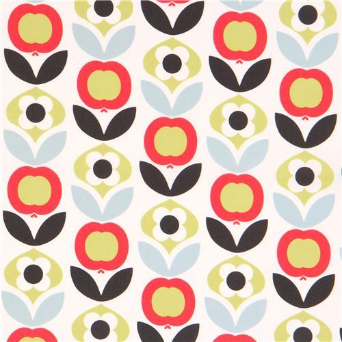 white with cute lime green flower design fabric by Copenhagen Print Factory